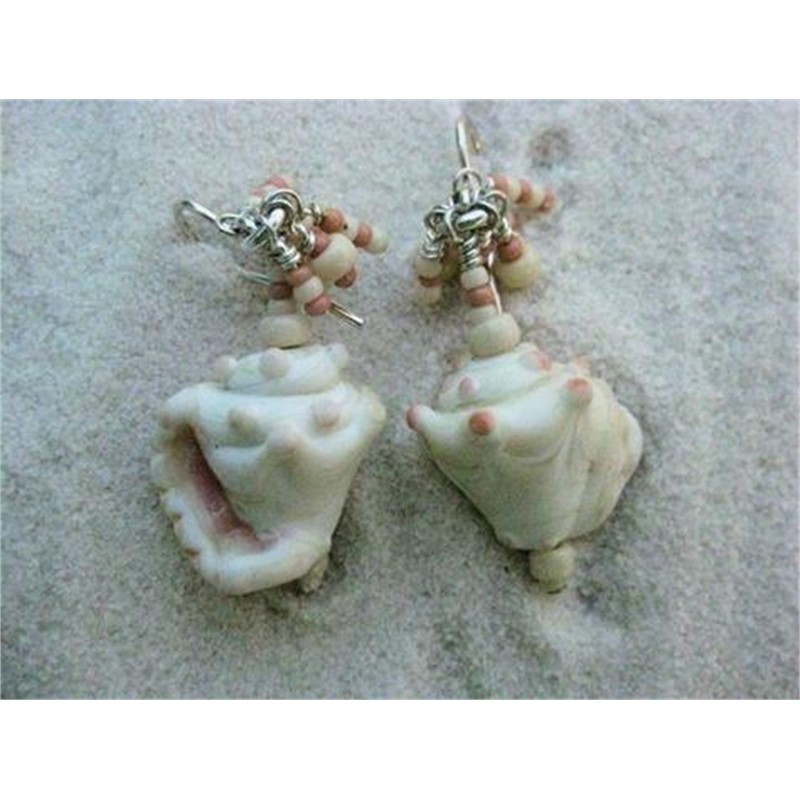 Lampworked Glass Conch Shell Earrings