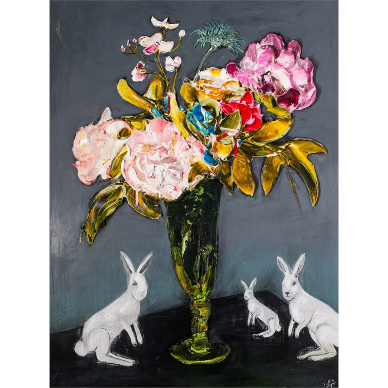 FLORAL STILL LIFE WITH RABBITS FSL36X48-2019-112, 2019
