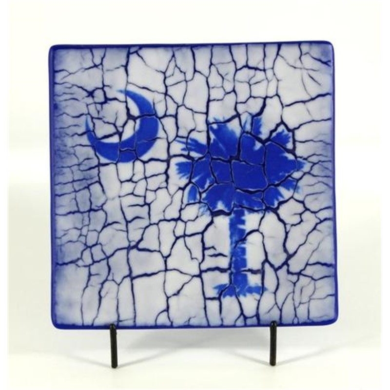 Palmetto Plate - Blue with Crackle
