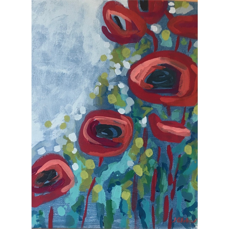 Red Poppies and Dots