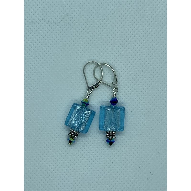 Turquoise Art Glass Earrings by Shoshannah Weinisch