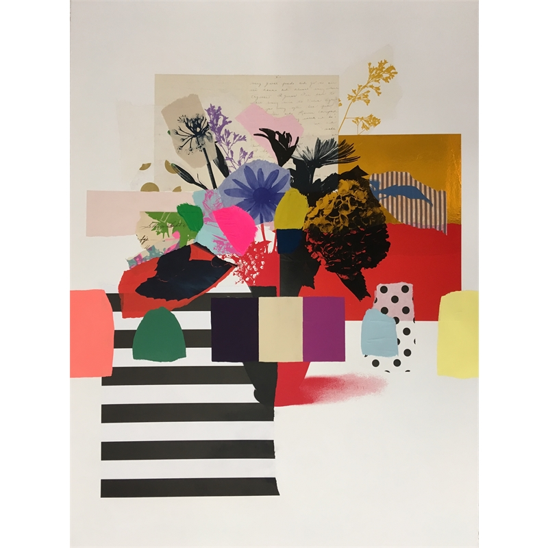 Paper Bouquet (vintage letter + stripes), 2019