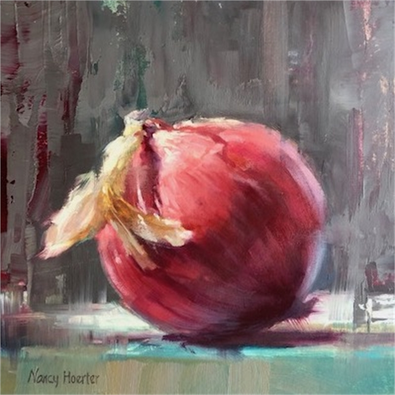 Red Onion, Blue Table, 2019