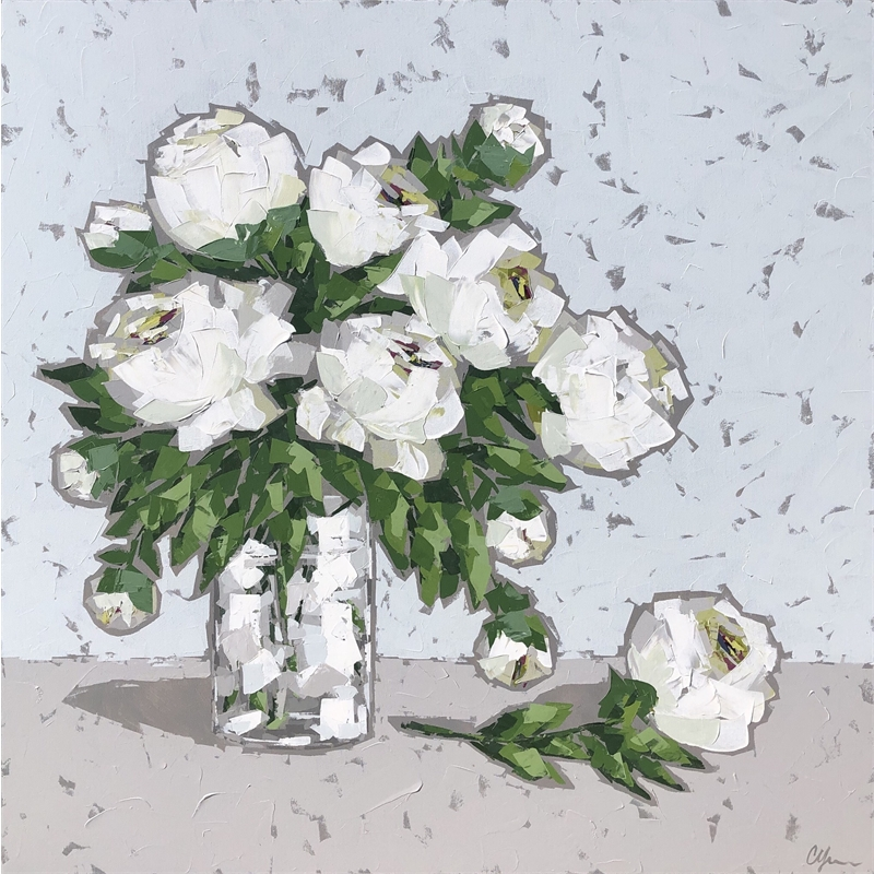 White Peonies in Glass, 2019
