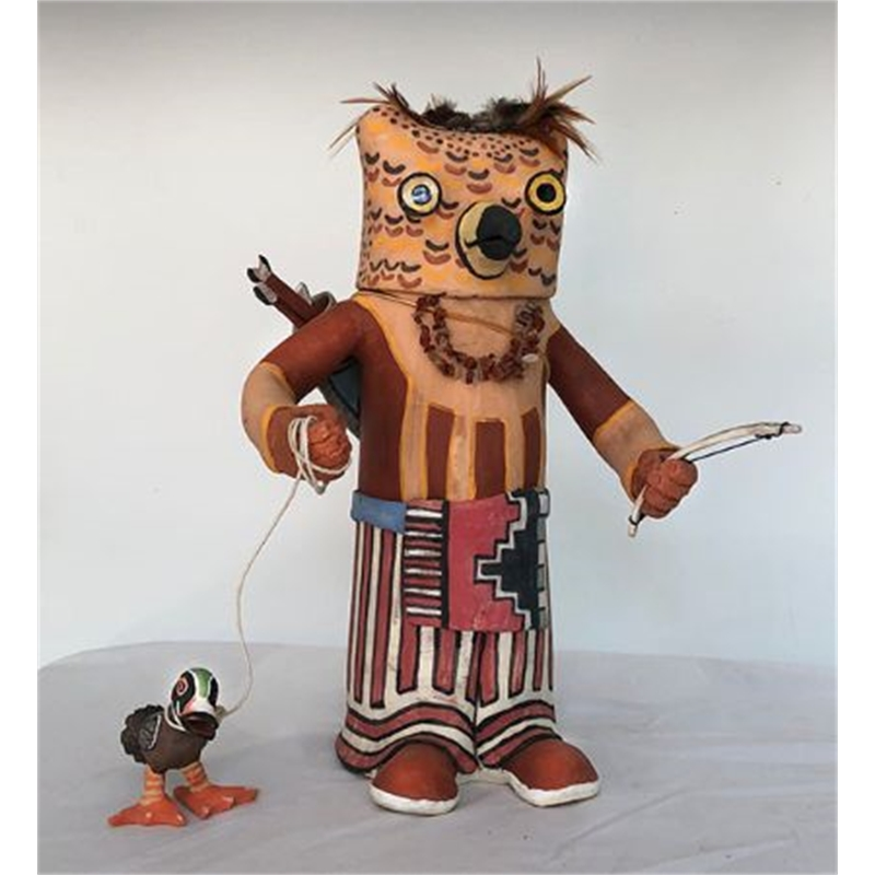 1318 Screech Owl Kachina, Hotsko with Duck