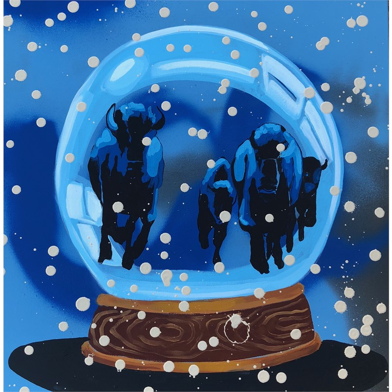 SNOW GLOBE SERIES - STAMPEDE - WELCOME TO NATIVE AMERICA, NOW GO HOME!, 2018