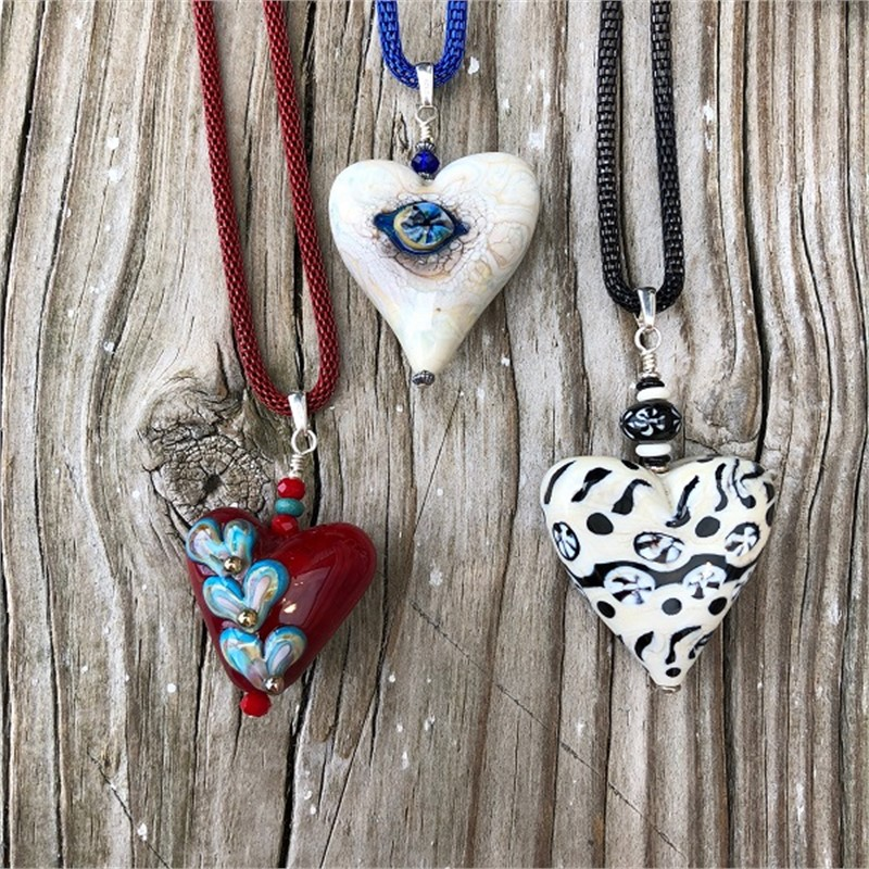 Lampwork Heart Necklaces, 2019