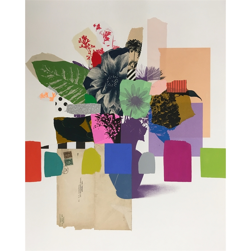 Paper Bouquet (green + purple flower), 2019