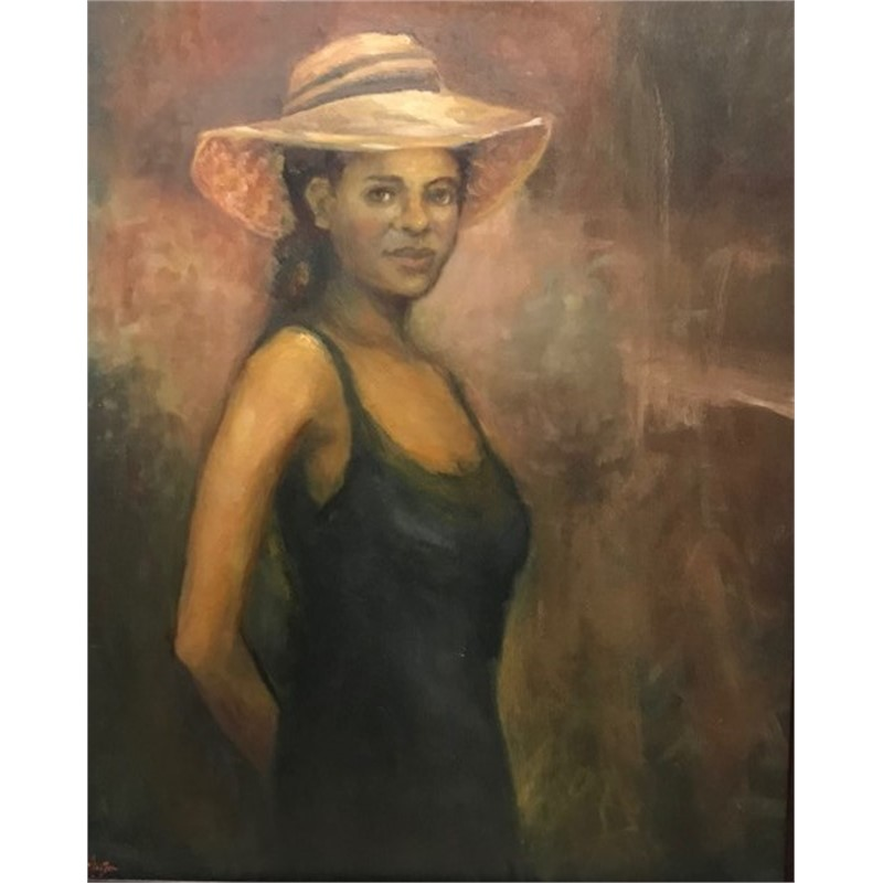 Woman With Black Dress and Straw Hat, 2018