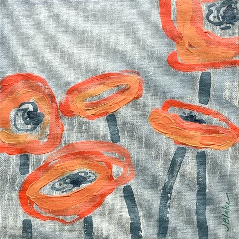 Red Poppies on Grey III
