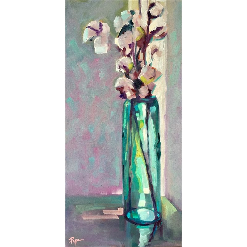 Cotton and Teal Vase
