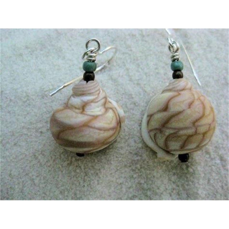 Lampworked Glass Tiger Shell Earrings