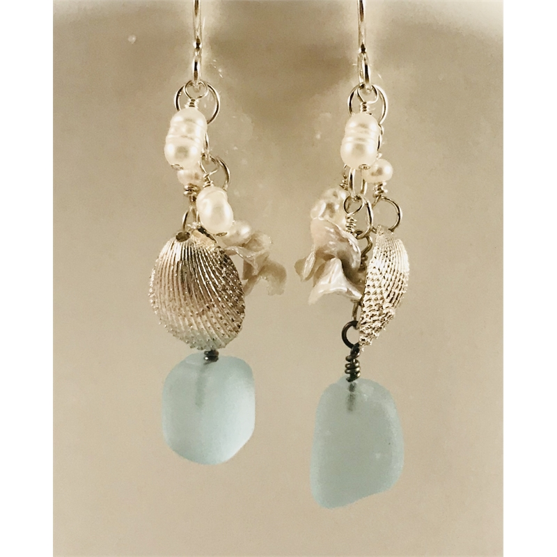 Sea glass, pearls and fine silver shell earrings by Linda Sacra