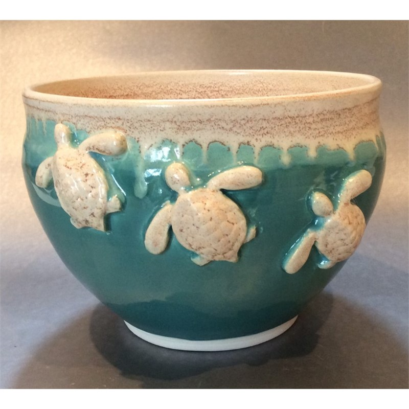 Turquoise bowl with turtles, 2019