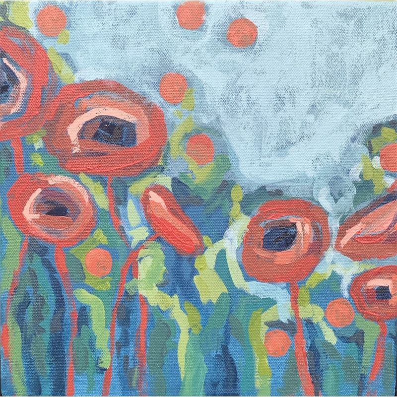 Coral Poppies on Light Blue
