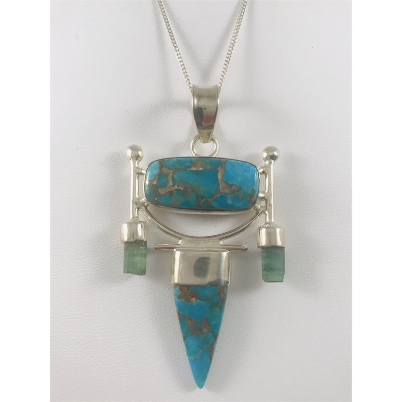 Turquoise and Tourmaline Sterling Pendant, 2020