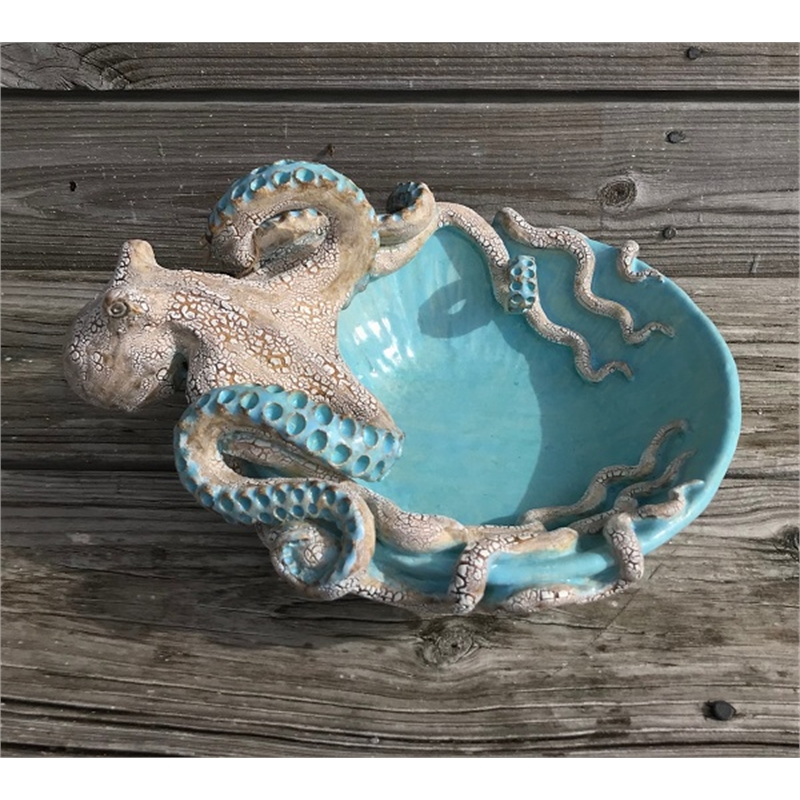 Large Octopus Bowl Caribbean Blue, 2019