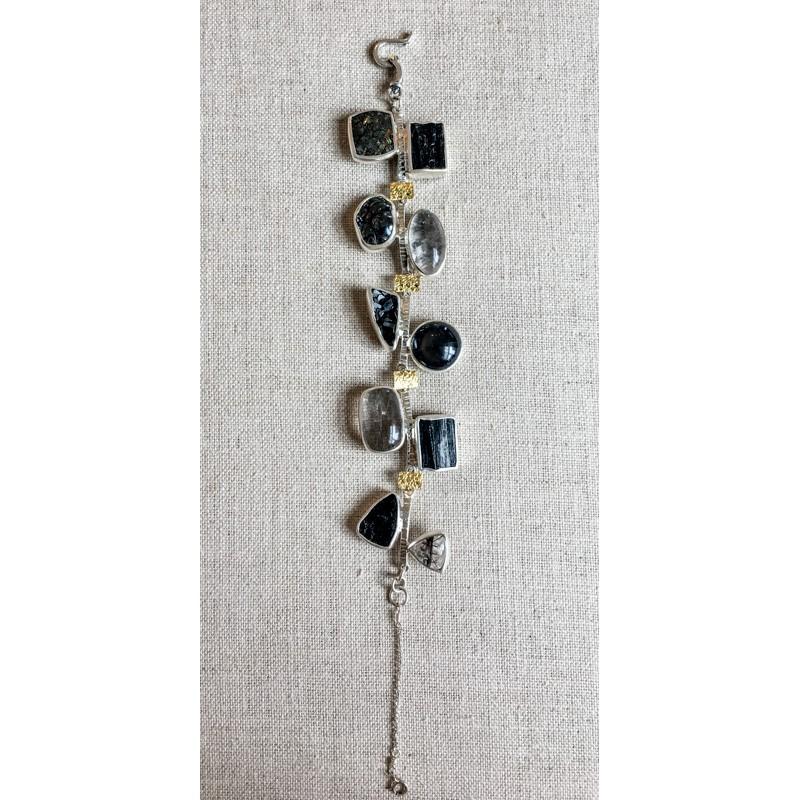 1381-1 Black Multi-stone Bracelet