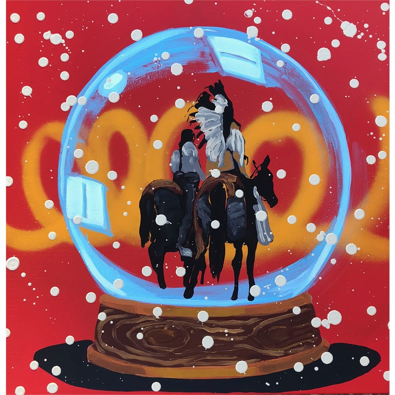 SNOW GLOBE SERIES - EQUESTRIANS - WELCOME TO NATIVE AMERICA, NOW GO HOME!, 2018