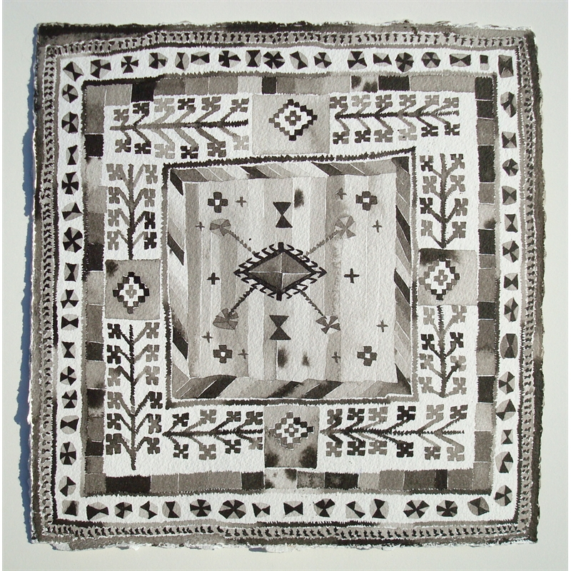 Small Black and White Milas Rug