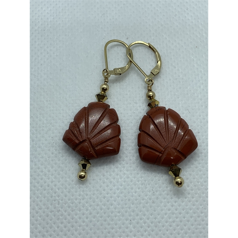 Carved Red Agate Earring, 2019