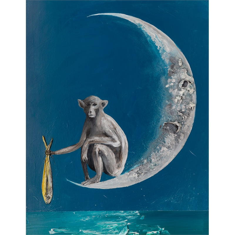 (SOLD)MONKEY ON THE MOON MS-30X40-2019-314, 2019