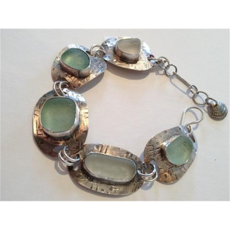 Sterling and Seafoam Green Seaglass Bracelet