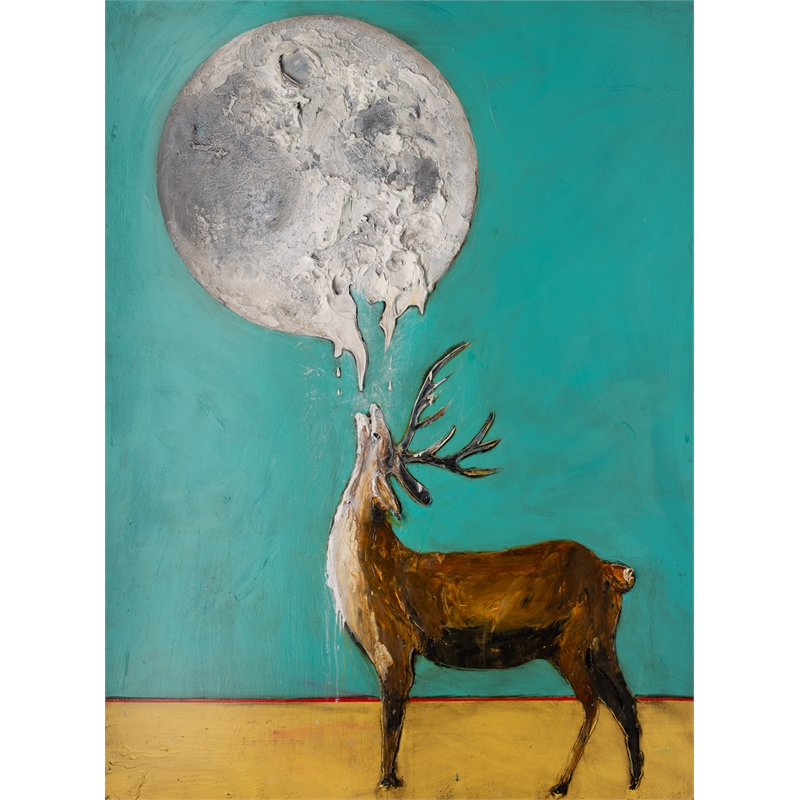 HOWLING DEER MOON MS-44.5x59.5-2019-313, 2019