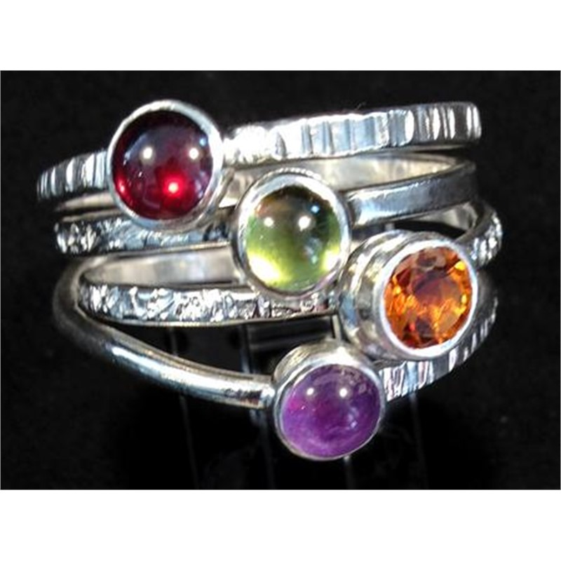 1184-13 4 Spring Ring (9.5-10 size) Sterling Silver, Amethyst, Citreen, Peridot, Garnet