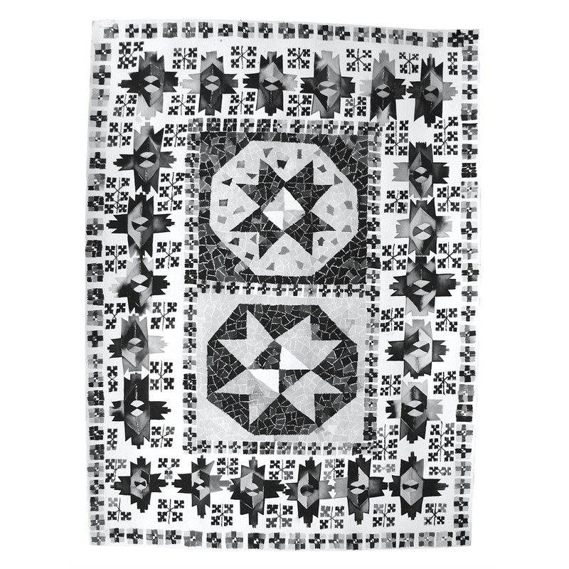 Black & White Bergama Star Rug, Western Turkey