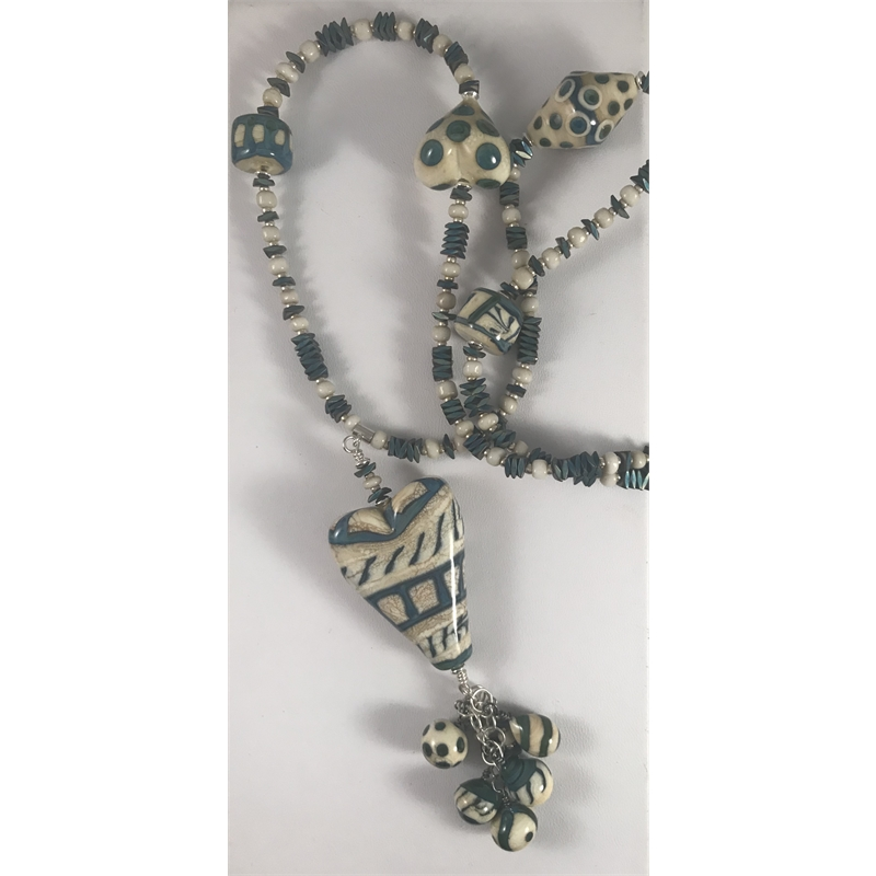Avorio and Okanos Heart and Lampworked Beads with Sterling by Linda Sacra