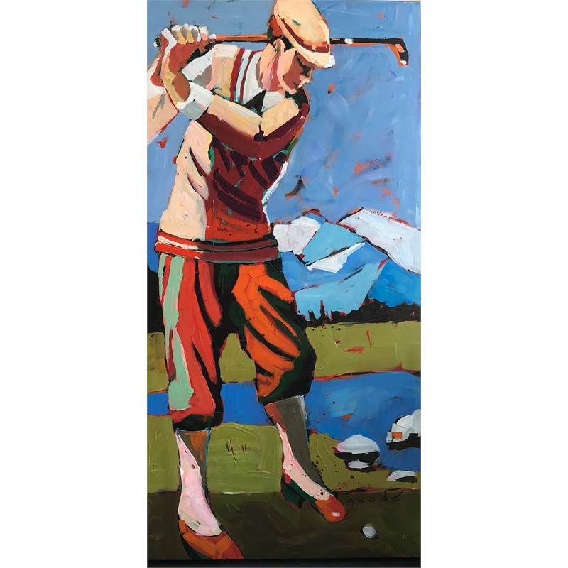 Golfer in Red Shoes by Carole Wade