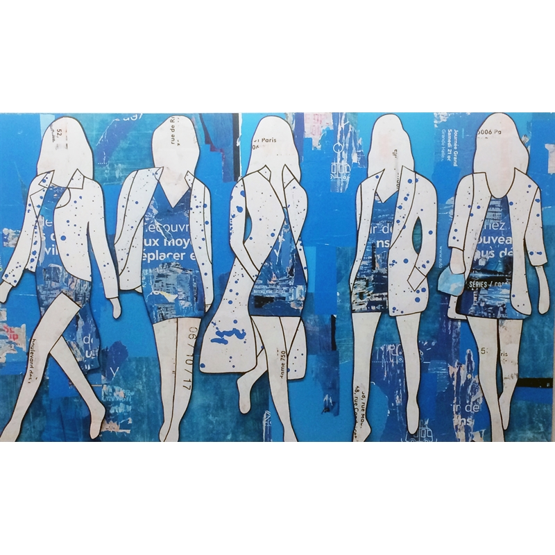 Five Girls Walking (Blue), 2018