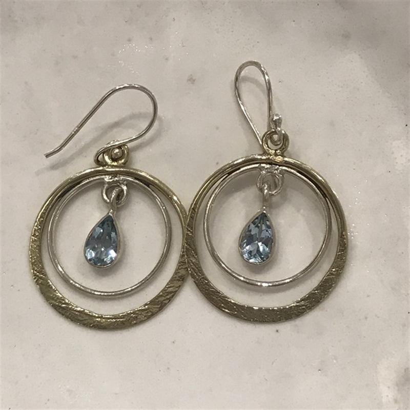 Earrings Blue Topaz,Brass, Sterling, 2020