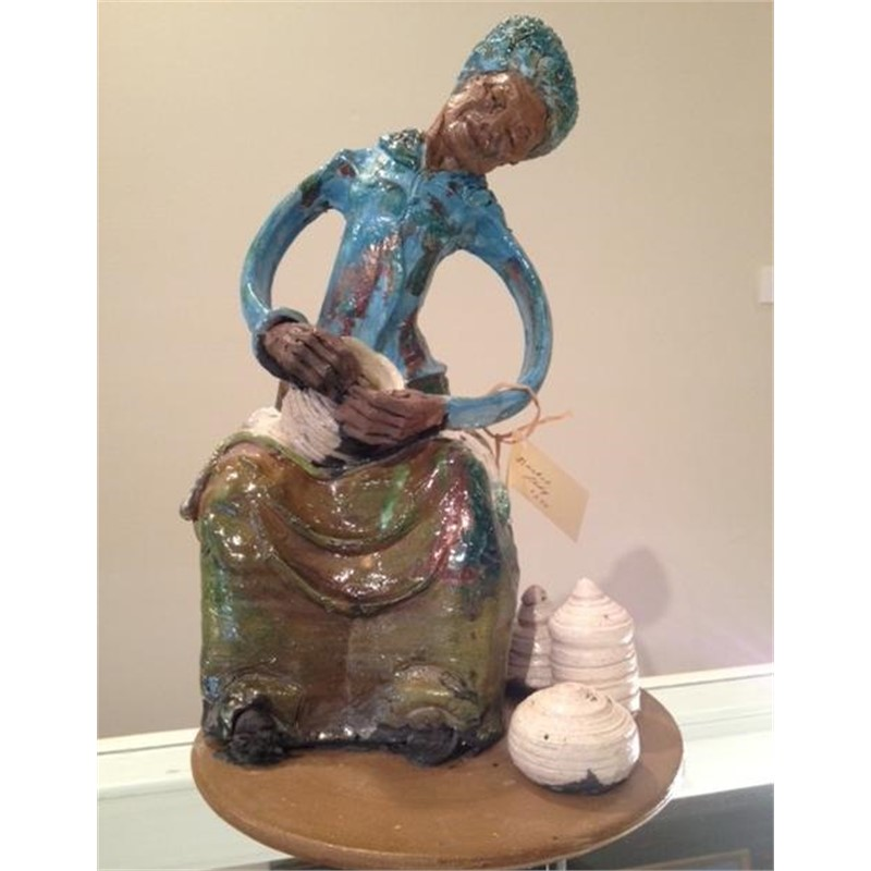 Raku Sculpture - Gullah Lady