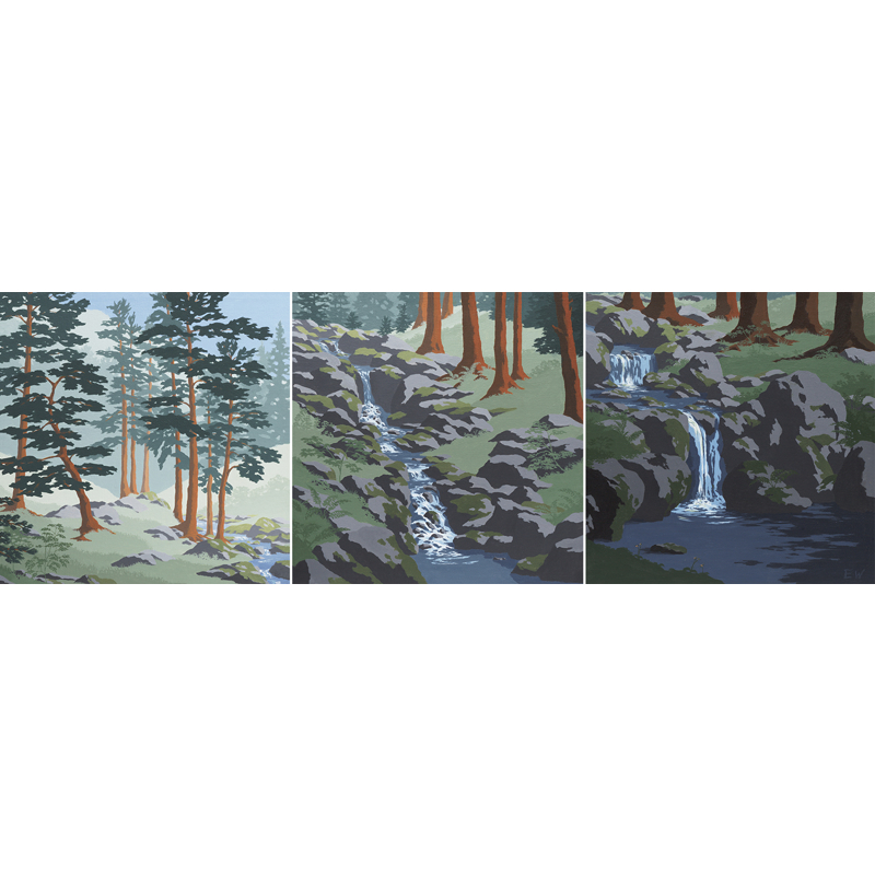 Cascading Brook (Triptych)