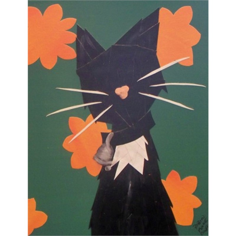 Black Cat with Orange Flowers by Robin Cooper