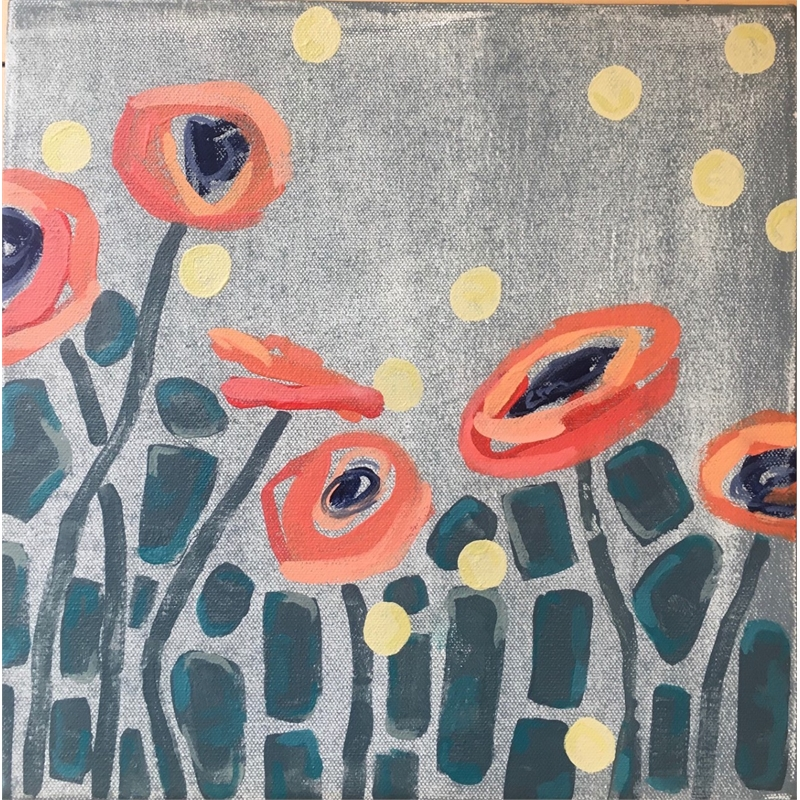 Orange Poppies and Dots, 2020