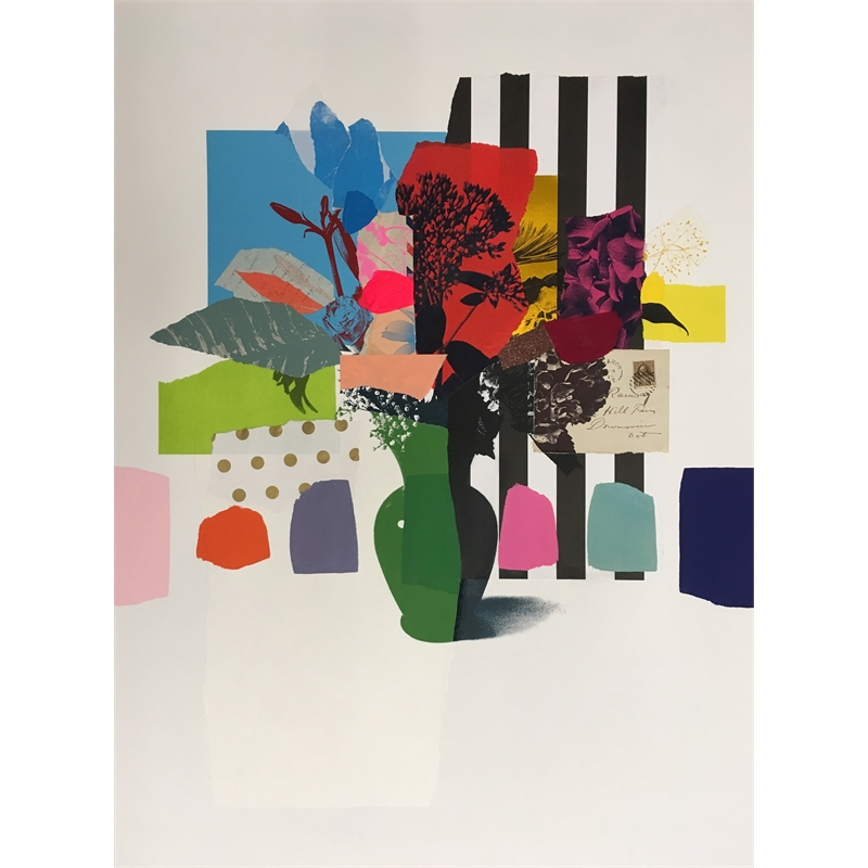 Paper Bouquet (green vase + stripes), 2019
