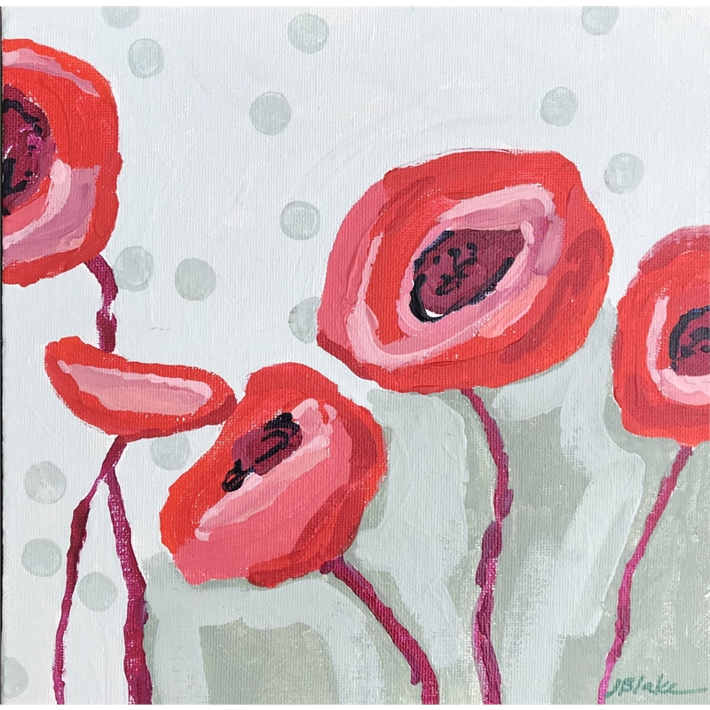 Red Poppies on Pink with Dots