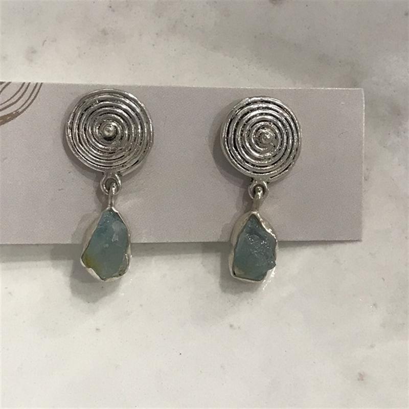 Earrings, Rough Aquamarine, Sterling #75, 2020