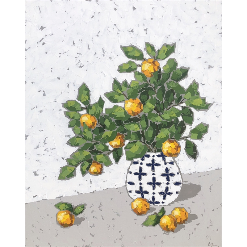 Oranges in Blue and White Vase by Christie Younger
