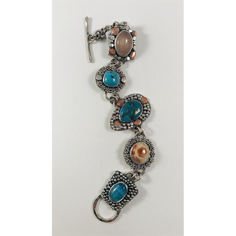 Turquoise, Fire Opal, Rose Quartz and Sterling Bracelet, 2019