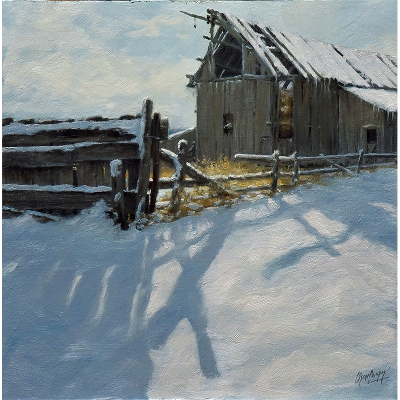 Fence and Snowy Barn, 2020