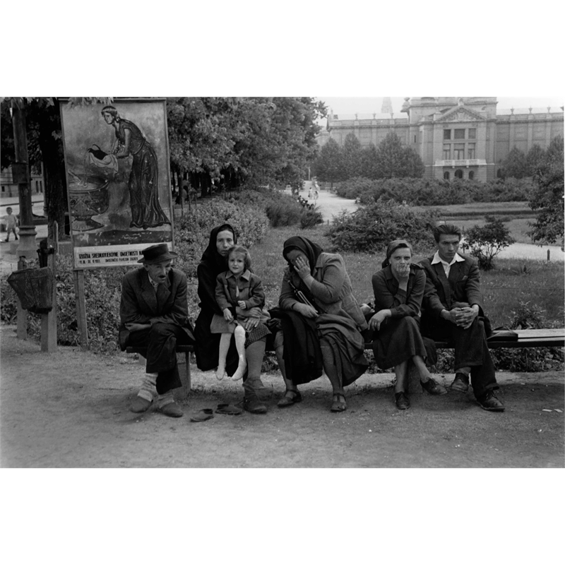 No. 171 Group on Bench, Zagreb, Yugoslavia, 1951