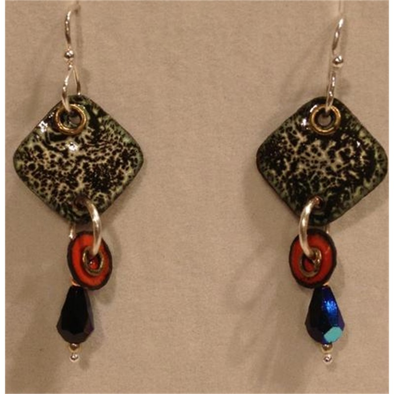 Copper Enamel & Sterling Earrings