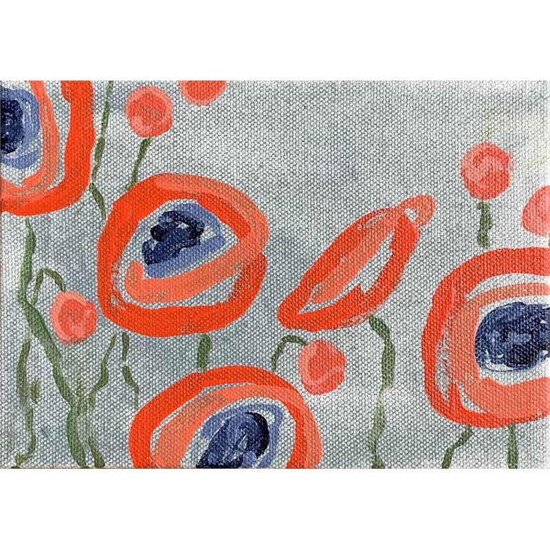 Red Poppies on Grey II