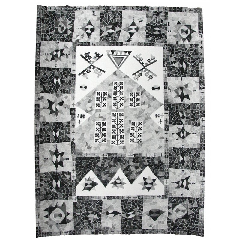 Black and White Milas Rug, Southwest Turkey