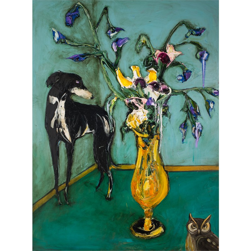 FLORAL STILL LIFE WITH DOG AND OWL FSL36X48-2019-111, 2019