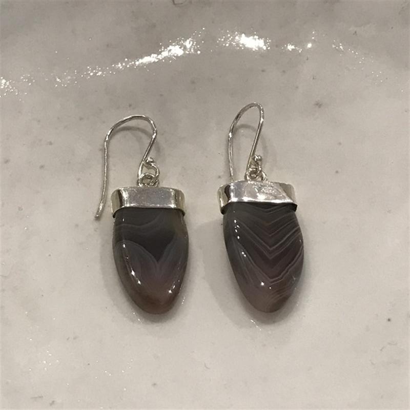 Earrings Botswana Agate,Sterling, 2020